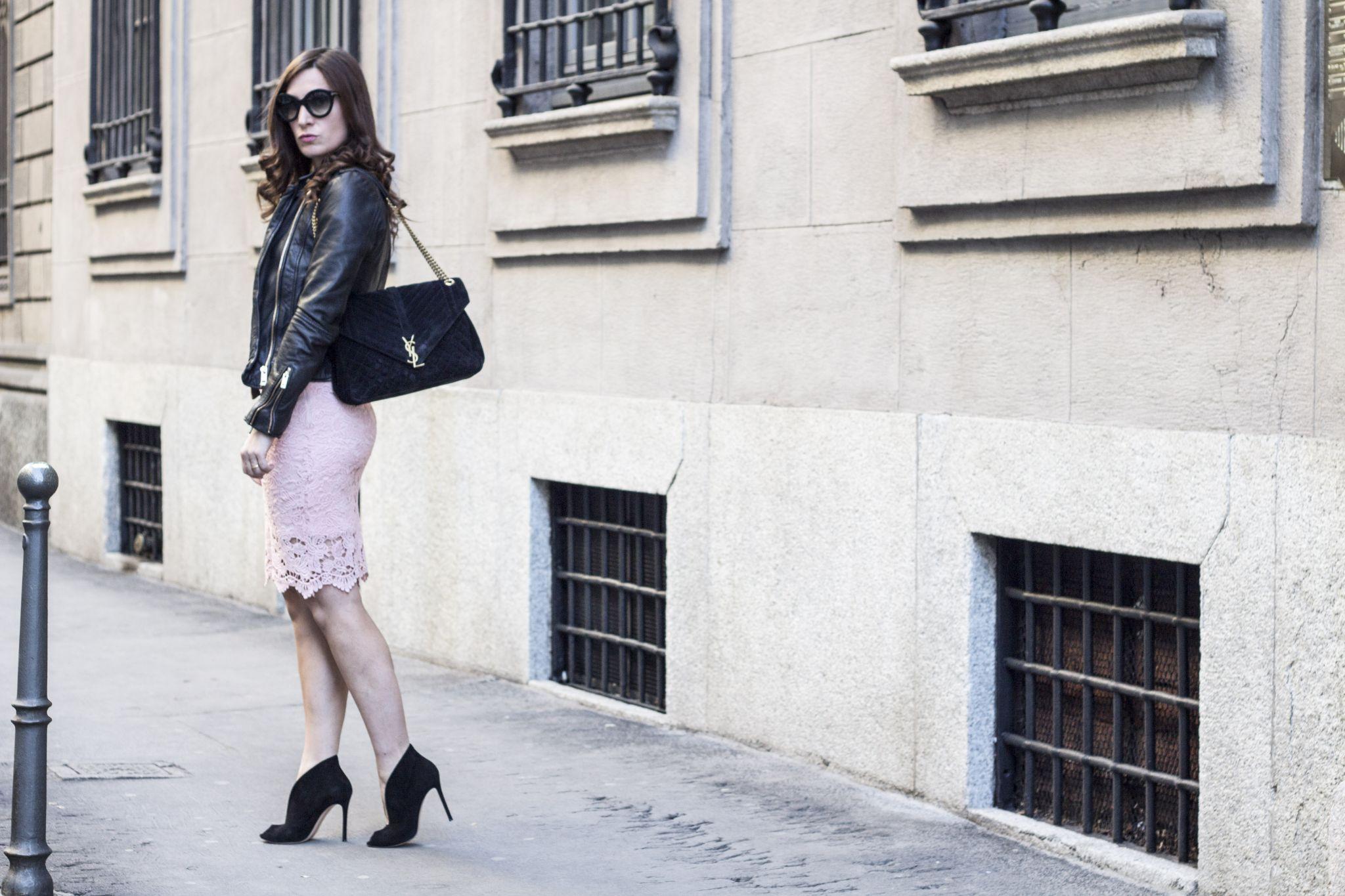 Con Di Primaverile Fxwfnniyq Pelle Outfit Giacca Rosa Nera E Pizzo ZuXTkOPi