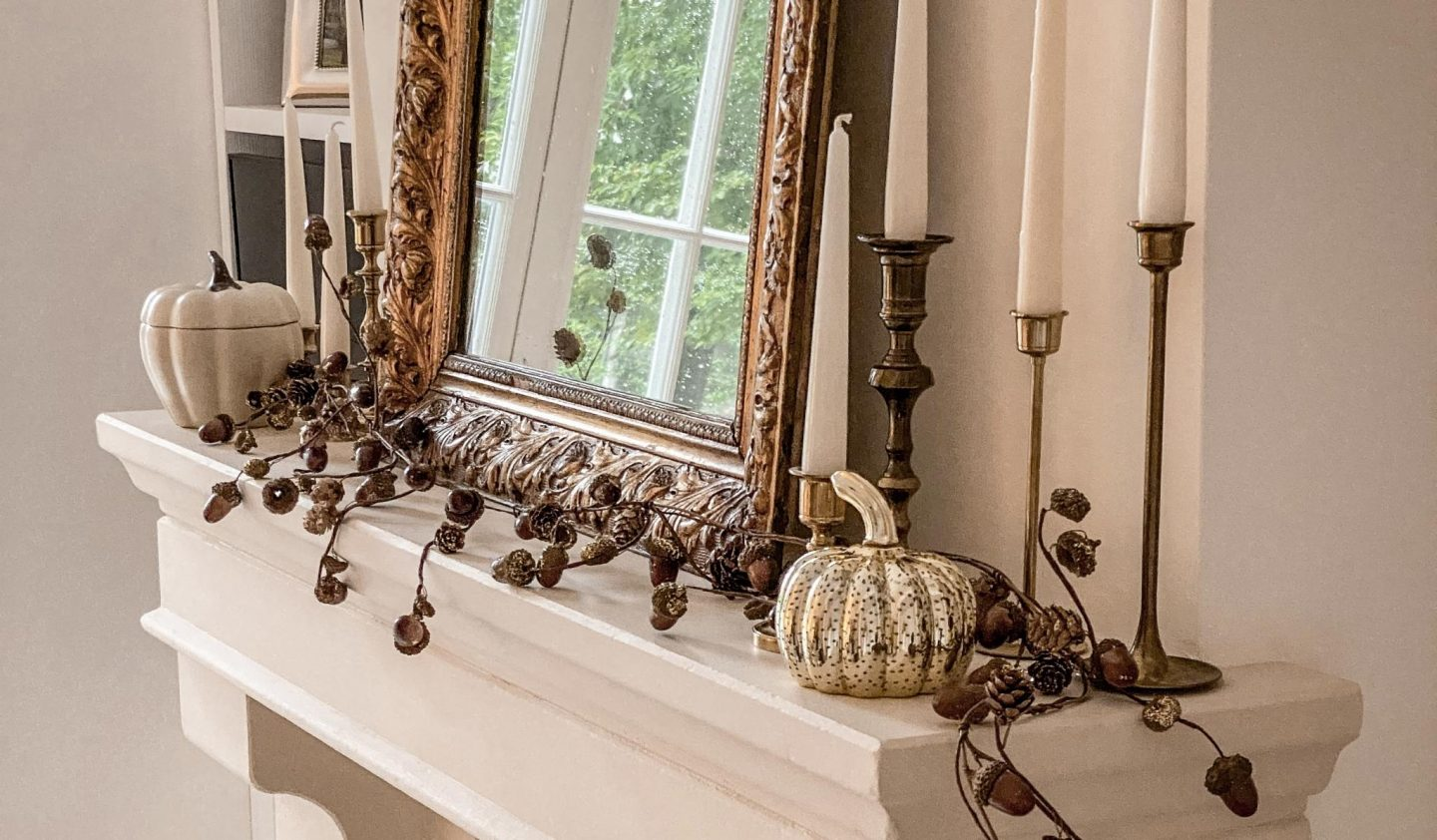 Fall decor at home on the fireplace